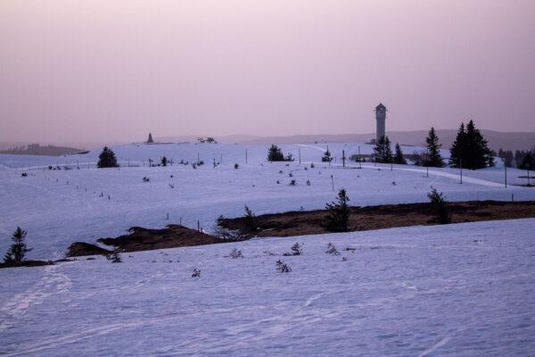Morgendämmerung am Feldberggipfel