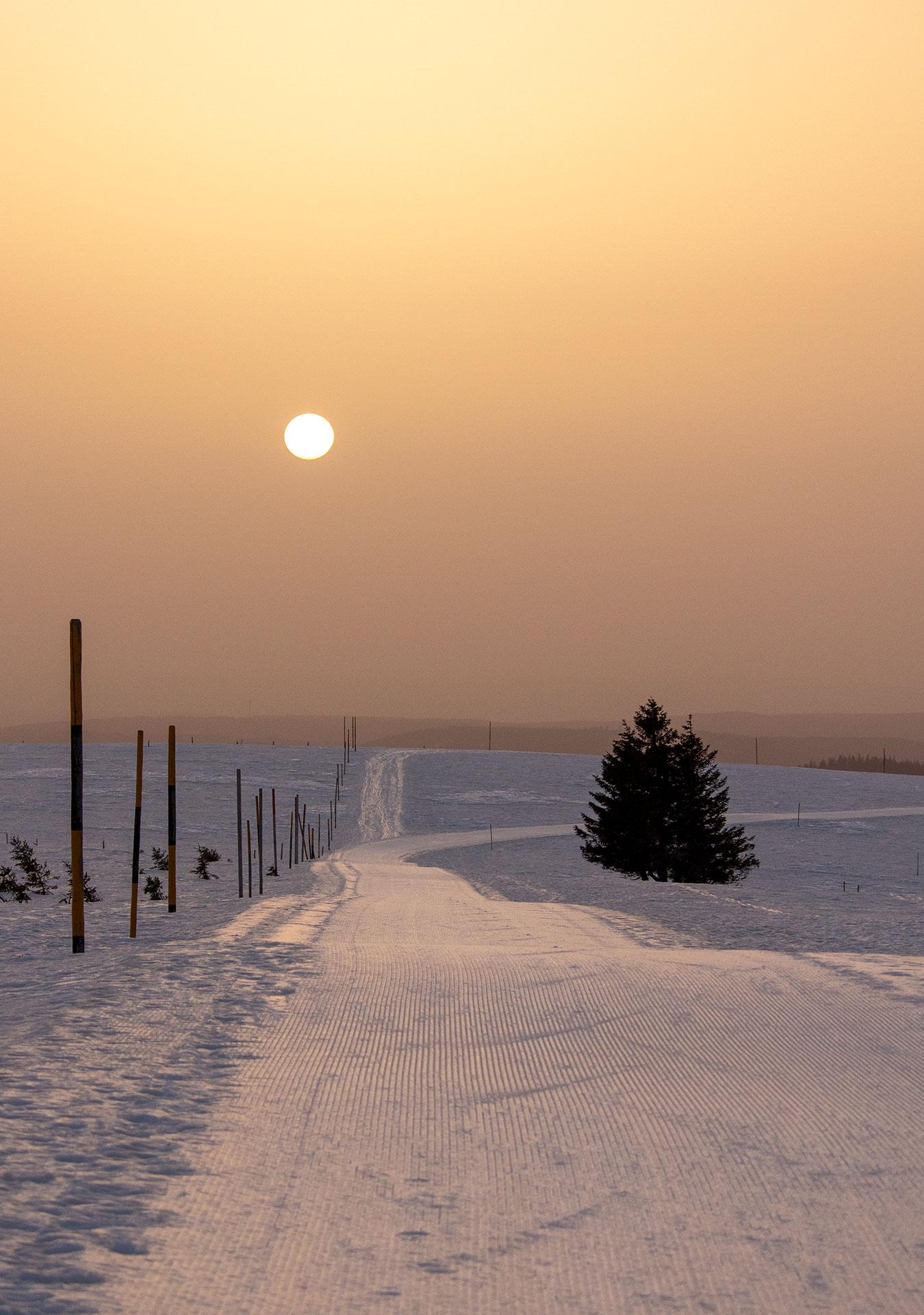 Sonnenaufgang am 24. Februar 2021 um 7:17 Uhr, Temperatur 5 Grad