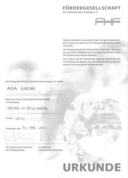 Herausragende Abschlussarbeit im Studiengang Medieninformatik, 2003, Ada Rhode